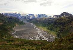 Thorsmork valley and Eyjafjallajokull volcano